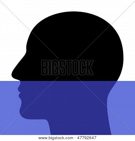 A Silhouette Of A Head Underwater