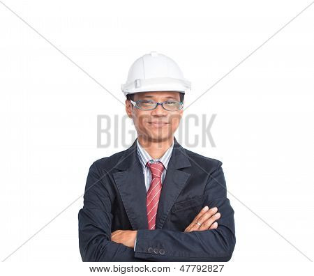 Smiling Engineer On White