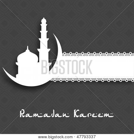Holy month of muslim community Ramadan Kareem with mosque and moon on abstract grey background.