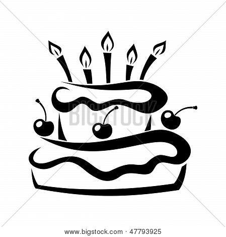 Silhueta negra do bolo de aniversário. Ilustração vetorial.