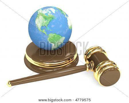 Tierra y judicial Gavel 3D