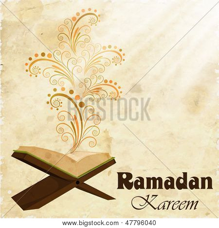 Holy month of muslim community Ramadan Kareem concept with open islamic religious book Quran Shareef on floral decorated background.