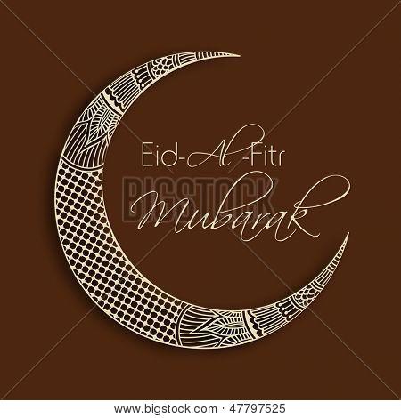 Beautifully floral design decorated crescent moon for occasion of muslim community festival Eid Al Fitr Mubarak (Eid Mubarak)