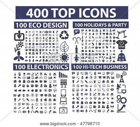 400 top icons set: business, website, media, music, travel, nature, holidays, party, technology, office, documents, vector