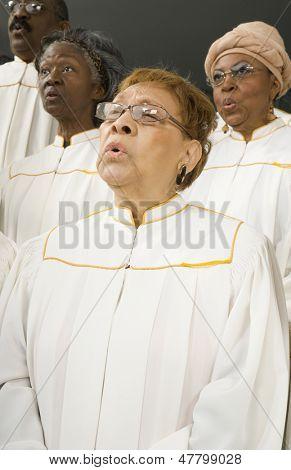 Senior women singing in a choir