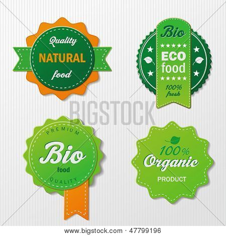 Four Biofood Labels With Text