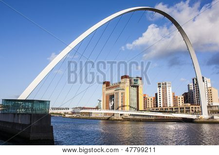 Modern bridge on river in newcastle.
