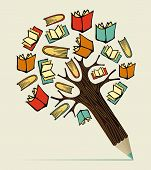 stock photo of draft  - Reading books education concept pencil tree - JPG