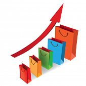 stock photo of arrowhead  - Sales growth chart - JPG