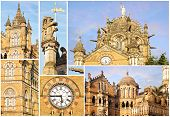 stock photo of british bombay  - Collage of the details of the Victoria Railway station - JPG