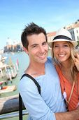 image of academia  - Couple standing on the Academia Bridge in Venice - JPG