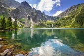 stock photo of spring-weather  - Eye of the Sea lake in Tatra mountains - JPG