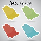 image of riyadh  - shiny vector stickers in form of Saudi Arabia - JPG
