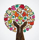 foto of palm-reading  - Global education concept tree hand books - JPG