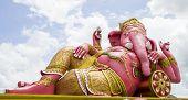 image of ganesh  - Pink Ganesh statue at Wat Saman Rattanaram in thailand - JPG