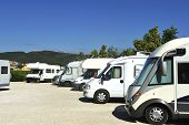 pic of camper-van  - Campers at a camper site in France - JPG