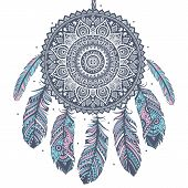 stock photo of indian blue  - Ethnic Dream catcher - JPG