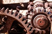 picture of yesteryear  - Close up shot of heavy duty industrial machinery - JPG