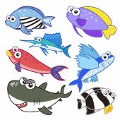 picture of sailfish  - cartoon sea animals set with white background - JPG