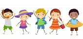 pic of stickman  - Illustration of Stickman Kids in Summer Outfit with Summer Gear - JPG