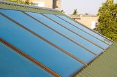 Solar Panels (geliosystem) On The House Roof. poster