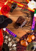 stock photo of castanets  - Bullfighter and flamenco typical from Espana Spain torero hat castanets comb flag and rose - JPG
