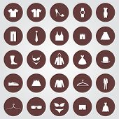 image of jeans skirt  - Set of 25 Clothes icons in the brown circles - JPG