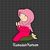 stock photo of namaz  - Muslim girl in traditional dress praying  - JPG