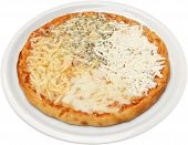 Pizza Quattro formaggi with cheese, feta, melted and cream cheese