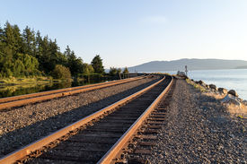 image of amtrak  - some train tracks stretching round the bend - JPG