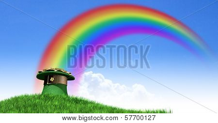 Leprechaun Hat With Gold On A Grassy Hill