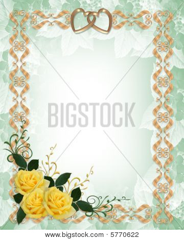Wedding invitation yellow roses gold border