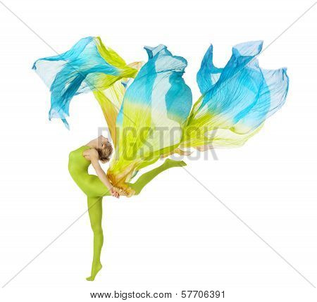 Sport Woman Dancing With Flying Fluttering Fabric Over White Background