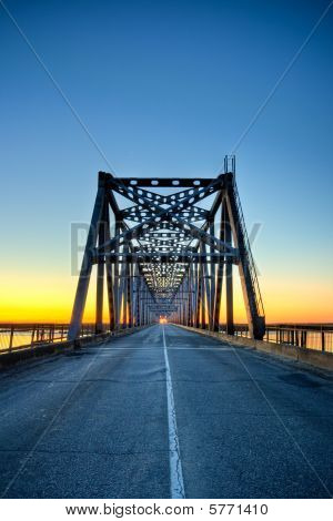 Automobile Bridge On Sunrise