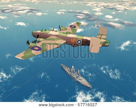 Heavy Bomber Halifax and Battleship