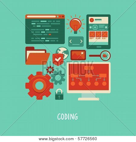 Vector Flat Icons - Website Development And Coding