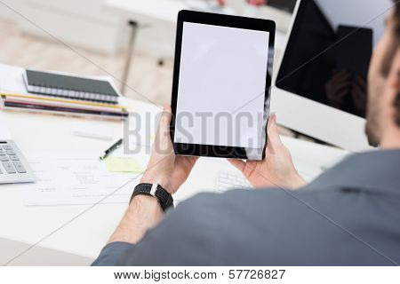 Businessman With A Tablet With The Screen Viewable