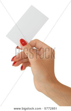 Nice Female Hand Holding A Blank Bisness Card