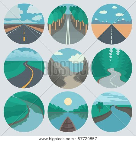 Travel Icons Set: Landscapes