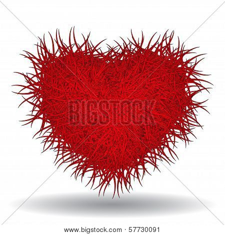 Big red bushy heart isolated on white background