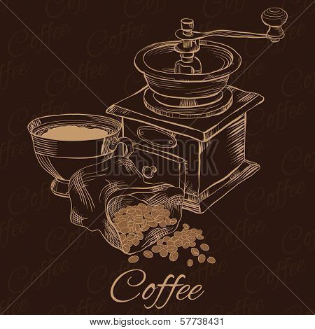 Coffee Grinder With Cup Of Coffee And Beans