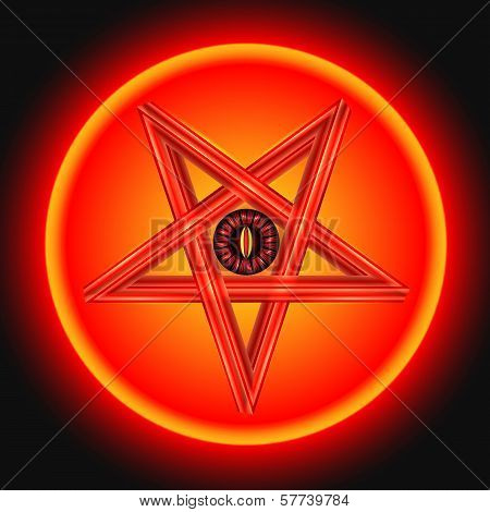 The Eye of Satan in The Metal Pentagram.