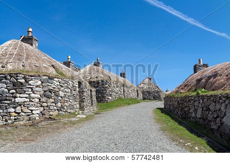 Traditional Scottish Black House Village