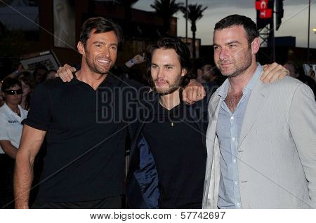 Hugh Jackman with Taylor Kitsch and Liev Schreiber  at the United States Premiere of 'X-Men Origins Wolverine'. Harkins Theatres, Tempe, AZ. 04-27-09