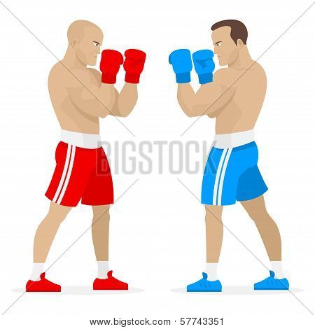 Boxers athletes stand in rack