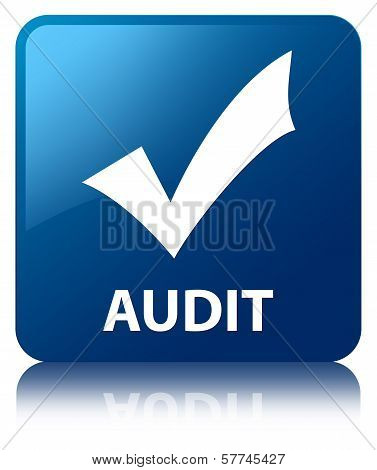 Audit (validation Icon) Glossy Blue Reflected Square Button
