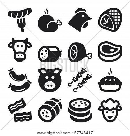 Meat Flat Icons. Black