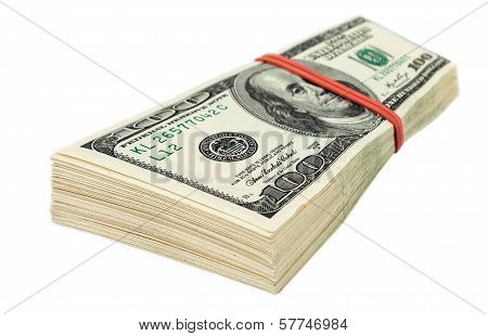Stack Of Ten Thousand Dollar Piles Of One Hundred Dollar Bills Isolated On White Background