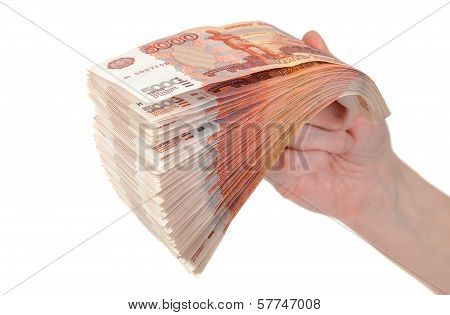 Hand With Russian Roubles Bills Isolated On White Background
