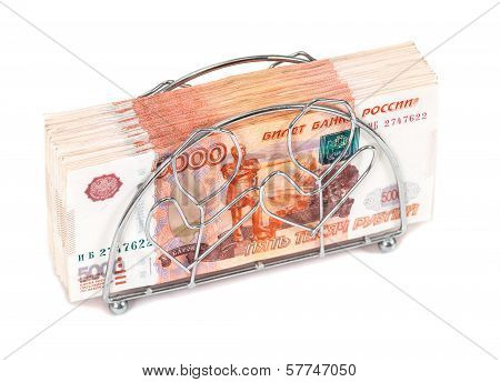 Napkin Holder With Pile Of Russian Roubles Bills